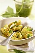 Tagliatelle con pesto alla genovese (Ribbon pasta with pesto)