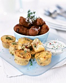 Vegetable muffin with savoury croquettes and yoghurt dip