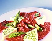 Beef carpaccio with asparagus terrine
