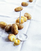 Cooked potatoes with coarse-grained salt & potato peeling fork