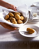 Cooked potatoes in dish and on plate