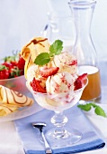 Elderflower syrup and strawberry ice cream with wafer