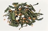 Sencha tea leaves with roasted rice (Senche-Genmaicha)