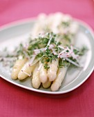 White asparagus with cress and radish vinaigrette