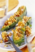 Stuffed courgettes with curried lentils