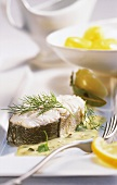 Boiled haddock with mustard sauce