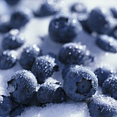 Blueberries on granulated sugar