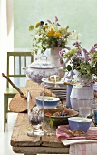 Summery table laid in rustic style