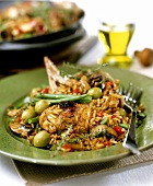 Pan-cooked chicken and rice dish