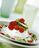 Lime mousse with raspberries and kiwi fruit