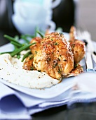 Guinea-fowl with mashed potato and green beans