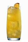 Orangeade with ice cubes