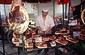 Market stall with air-dried ham (South West China)