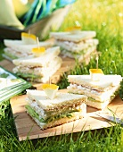 Club sandwich with cream cheese and avocado mousse