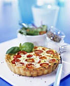 Tomato and cheese tartlet with basil