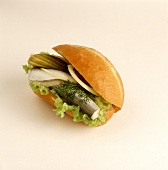 Herring roll with gherkin
