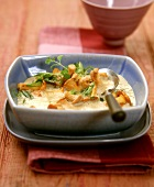 Cream of chanterelle soup with marjoram