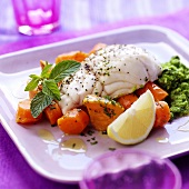Haddock with carrots, sweet potatoes and vegetable puree