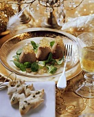 Poultry liver mousse with corn salad and wine jelly