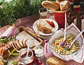 Picnic with roast turkey, pasta salad, white bread sandwich
