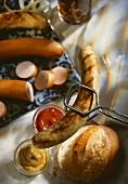 Grilled sausage, Vienna sausage, roll, ketchup & mustard