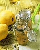 Quince jelly with Riesling & pistachios in preserving jars
