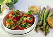Stuffed tomatoes (beef tomatoes with cheese & spinach stuffing)