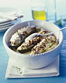 Baked courgettes with mince stuffing (Greece)