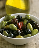Bottled olives in a bowl