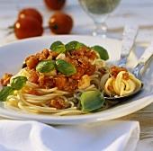 Spaghetti al tonno (spaghetti with tuna and tomato sauce)
