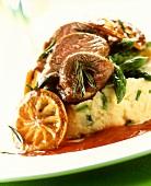 Roast lamb with asparagus, mashed potato, tomato & orange sauce