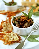 Rosti with chicken liver and mushroom ragout
