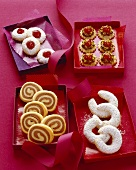 Crescents, black & white cookies, jam & nougat biscuits