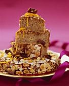 Almond gateau in festive arrangement
