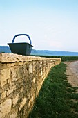 Basket for grape-picking on stone wall, Romanee-Conti, Burgundy