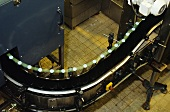 Champagne on the conveyor belt before dégorgement, Taittinger