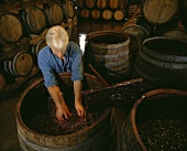Wine-maker John Reynolds stirring the marc, Australia