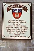 Sign of St. Emilion wine region, Bordeaux, France
