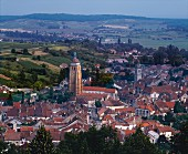View over the wine town of Arbois in the Jura, France