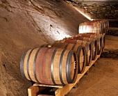 Fässer mit Clos Mogador im Keller von René Barbier, Spanien