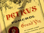 Label of a 1953 Chateau Petrus, Pomerol, Bordeaux