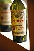 Empty 1955 Château Pétrus bottle (close-up)