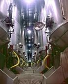 Steel fermenting tanks, Bodegas Palacio de la Vega, Navarra, Spain