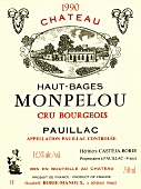 Wine label from Château Haut-Bages Monpelou 1990, Bordeaux