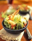 Green tagliatelle with shrimps au gratin