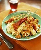 Rigatoni with lentil ragout and paprika salami