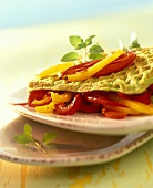 Vegetable waffle, filled with pepper strips