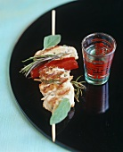 Chicken kebab and Asian drink