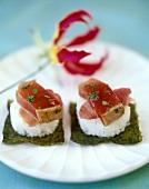 Rohe Thunfisch-Häppchen nach Sushi-Art