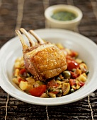 Agnello e caponata (rack of lamb on sweet & sour vegetables)